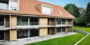 Aussenansicht der Alten Gärtnerei Rapperswil, gebaut mit dem monolithischen Hochleistungsbackstein Capo von Gasser Ceramic.