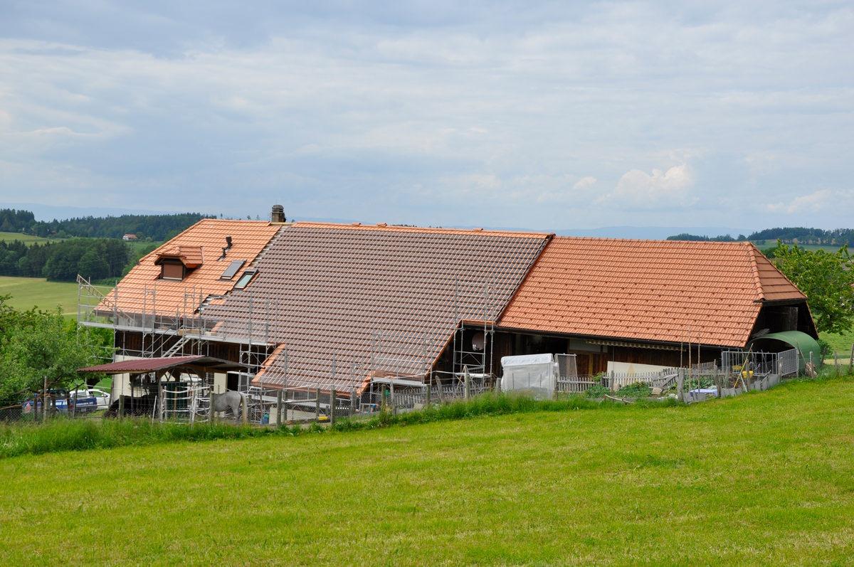 Aussenansicht eines Wohnhauses in Alterswil, dessen Dach mit Panotron Photovoltaikdachziegeln von Gasser Ceramic eingedeckt ist