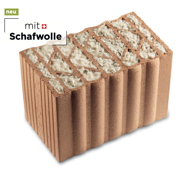 Monolithischer Backstein Cap 425 LANA, dessen Hohlräume mit Schweizer Schafwolle gefüllt ist.